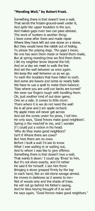fences poem by robert frost