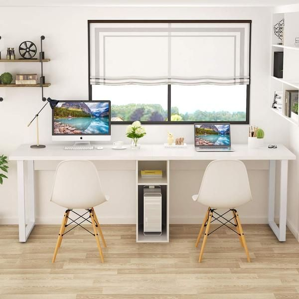 78 Extra Large Two Person Computer Desk With Shelf Double Workstation Desk For Home Office Cl In 2020 White Desk Office Home Office Design Computer Desk With Shelves