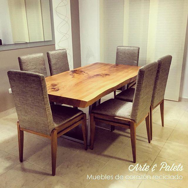 Instagram media by arteypalets - Mesa comedor para 6 personas  Base herrería color gris aluminio