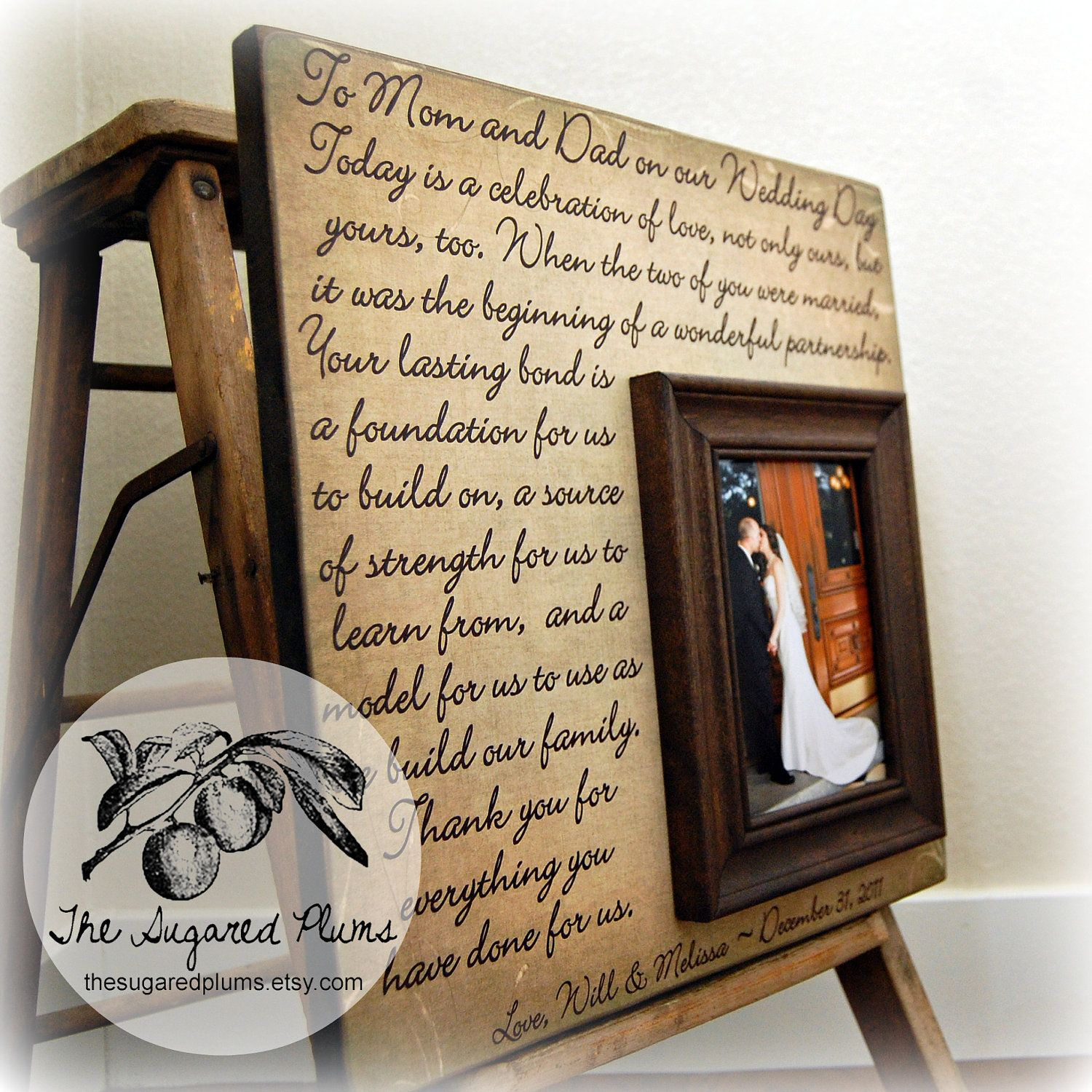 Parents wedding gift parents of the groom father of the groom gift