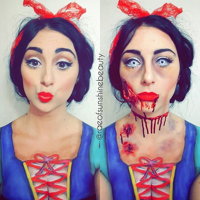POISONED SNOW WHITE  Product details below ⤵  @wolfefaceartfx paints to create costume  @maccosmetics ruby woo lipstick  @bennyemakeup liquid latex, scab blood & abrasion wheel for wounds  @mehronmakeup dark stage blood  contacts are from @mileageclothing in PB  @makeupgeekcosmetics eyeshadows in white lies, mocha, corrupt, bitten, dessert sands