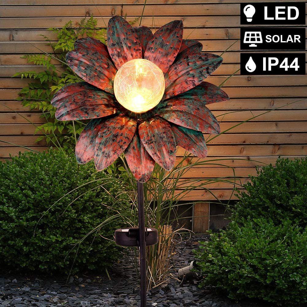 Led Solar Blume Erdspiess Leuchte Rost Crackle Glas Aussen Beleuchtung Hof Garten Terrassen Deko Steck Lampe Werbung Ad Solarleuchten Garten Terrasse Garten