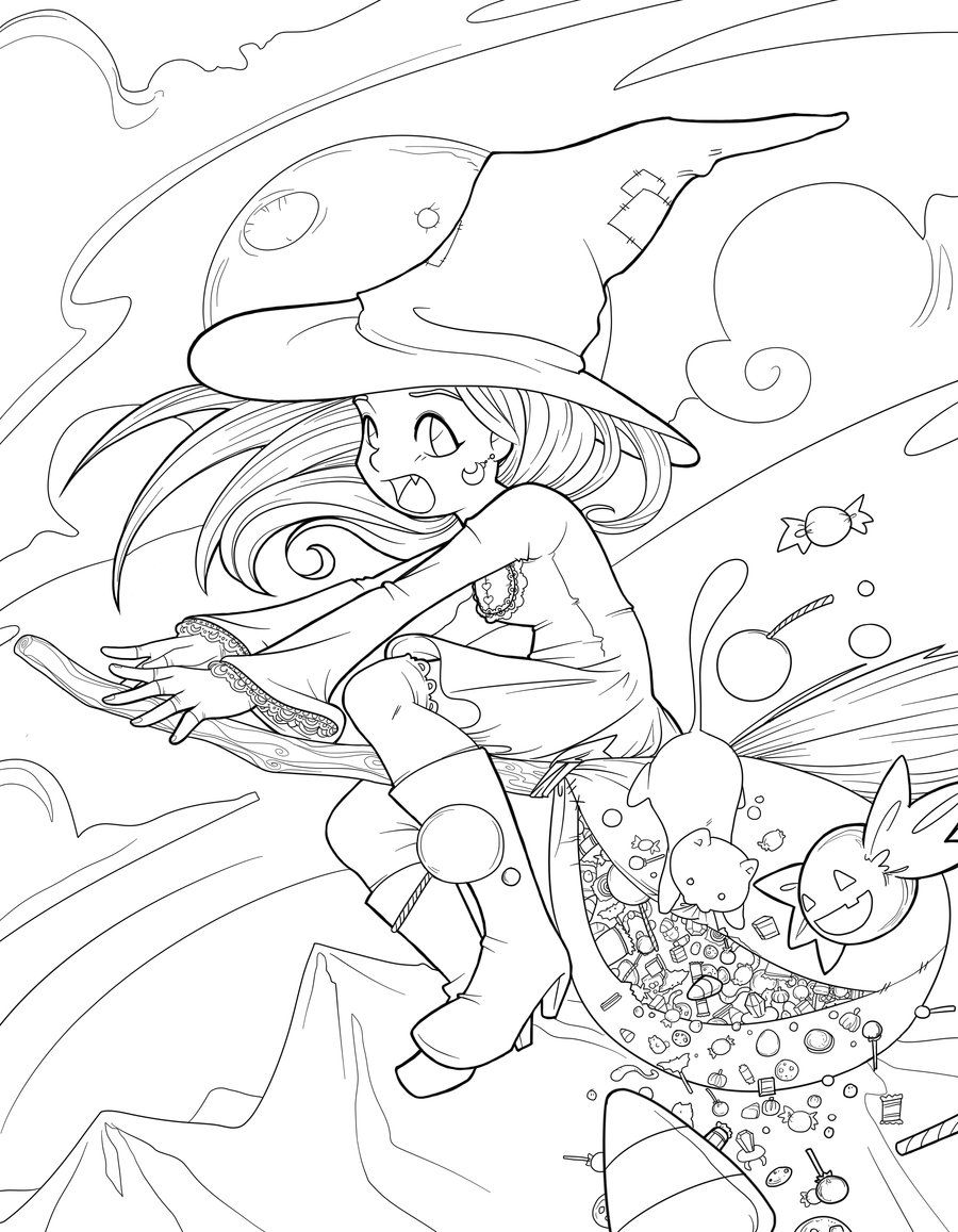 Halloween Fiasco Lineart Witch Coloring Pages Fairy Coloring Pages Cute Coloring Pages