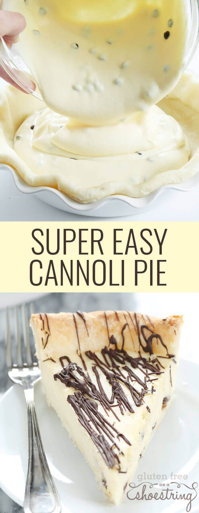 Super Easy Gluten Free Cannoli Pie — can I get an amen  is part of Desserts - Gluten free cannoli pie has all the taste of cannoli in a super easy smooth and creamy pie  Make it with a pastry crust or cookie crust!