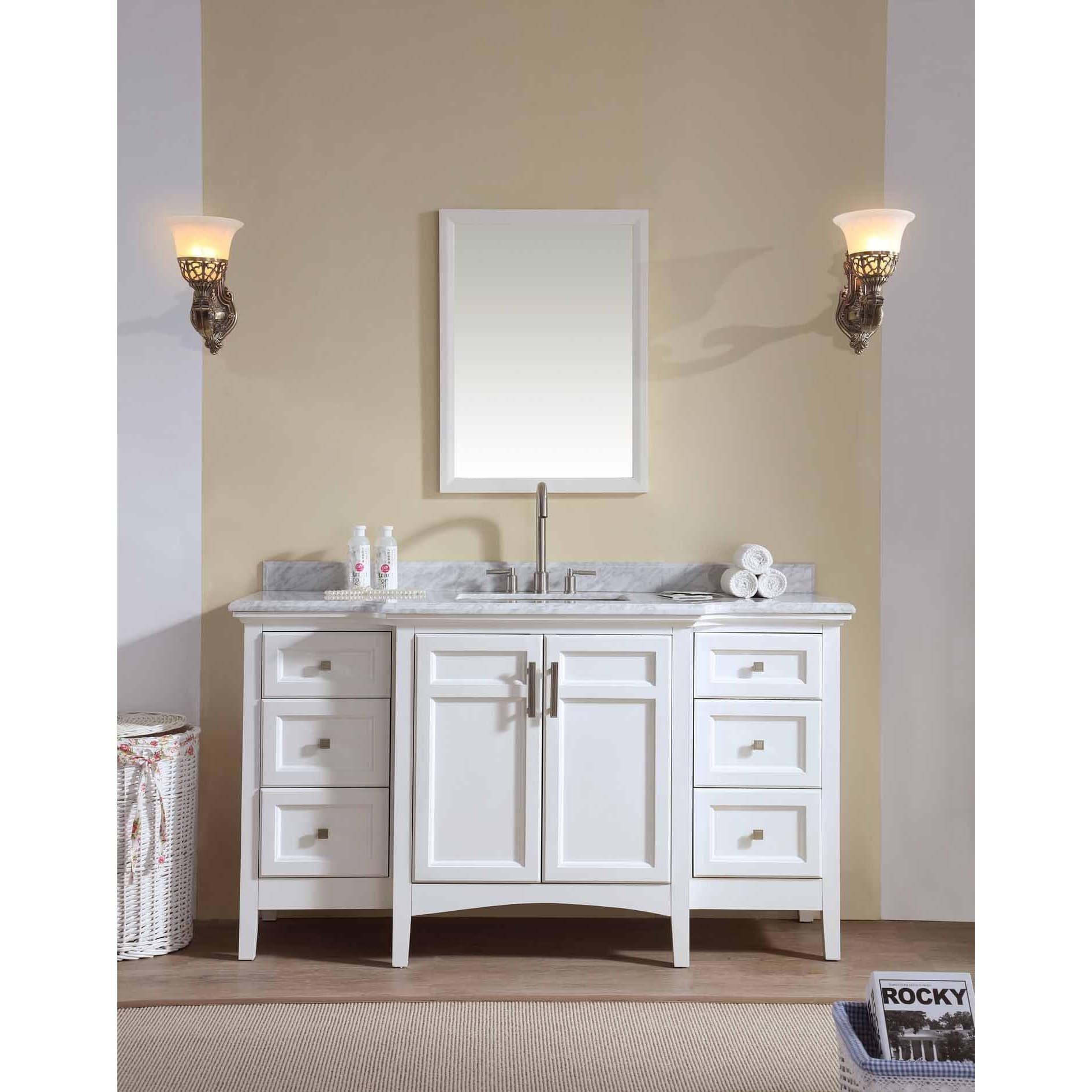 Ari Kitchen and Bath Luz White 60-inch Single Bathroom Vanity Set ...