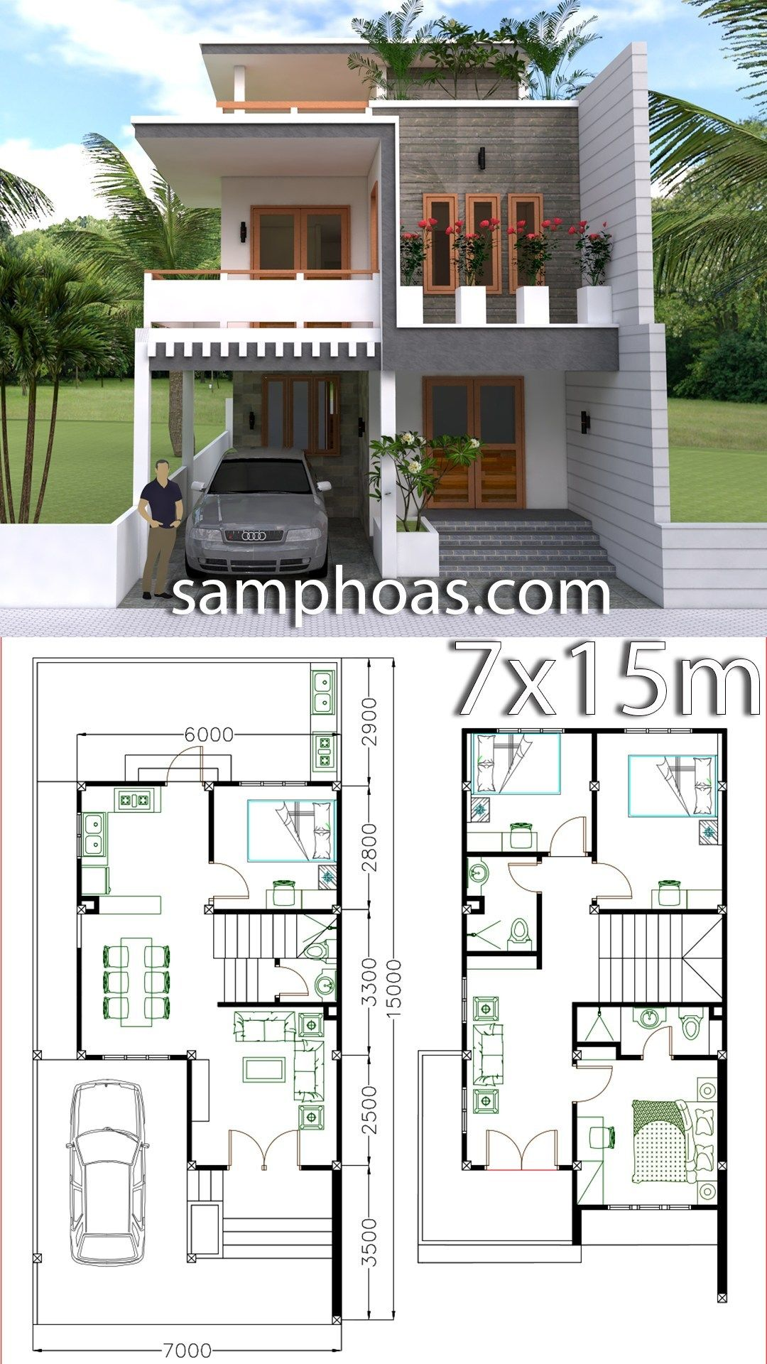 Home Design Plan 7x15m With 4 Bedrooms Duplex House