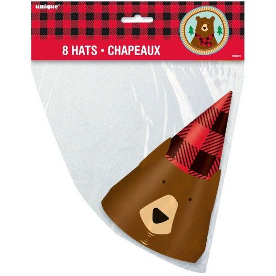 Bear Buffalo Plaid Lumberjack Party Hats 8ct, Wild One ...