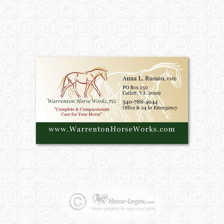 Custom Horse Logo And Business Card Design Created For Anna L Russau Of Warrenton Horse Works Check Out H Business Card Design Custom Logo Design Card Design