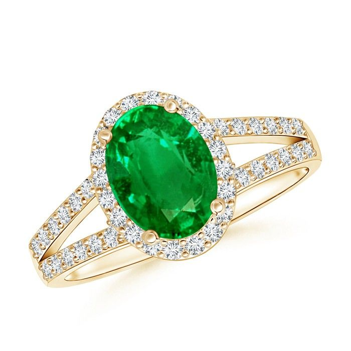 Angara Sapphire and Emerald Split Shank Ring in Yellow Gold EYNKFbx