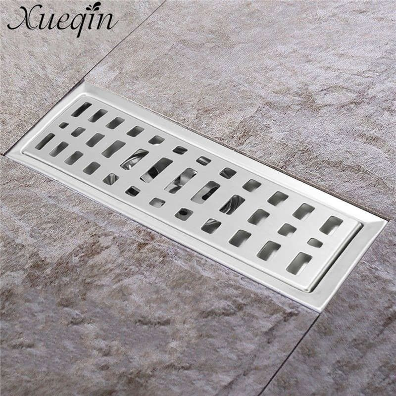 Xueqin 20x10cm Stainless Steel Long Drainer Invisible Bathroom Floor Drain Waste Grate Shower Drainer K Floor Drains Stainless Steel Bathroom Bathroom Flooring