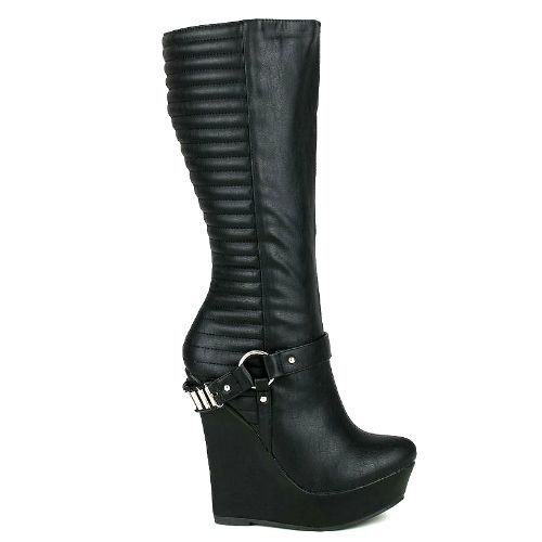 Knee-High Wedge Boot with platform Heels and quilted design. LINK: http://www.cutesyoriginals.com/product/kelli-1-quilted-knee-high-wedge-boot-platform-heel/