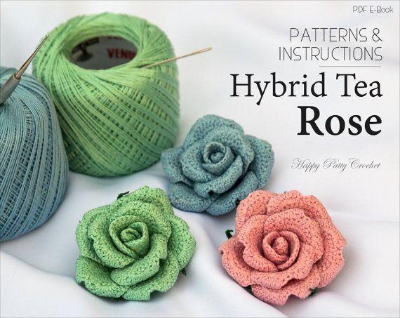 Ganchillo flor patrón patrón de rosa de por HappyPattyCrochet ...