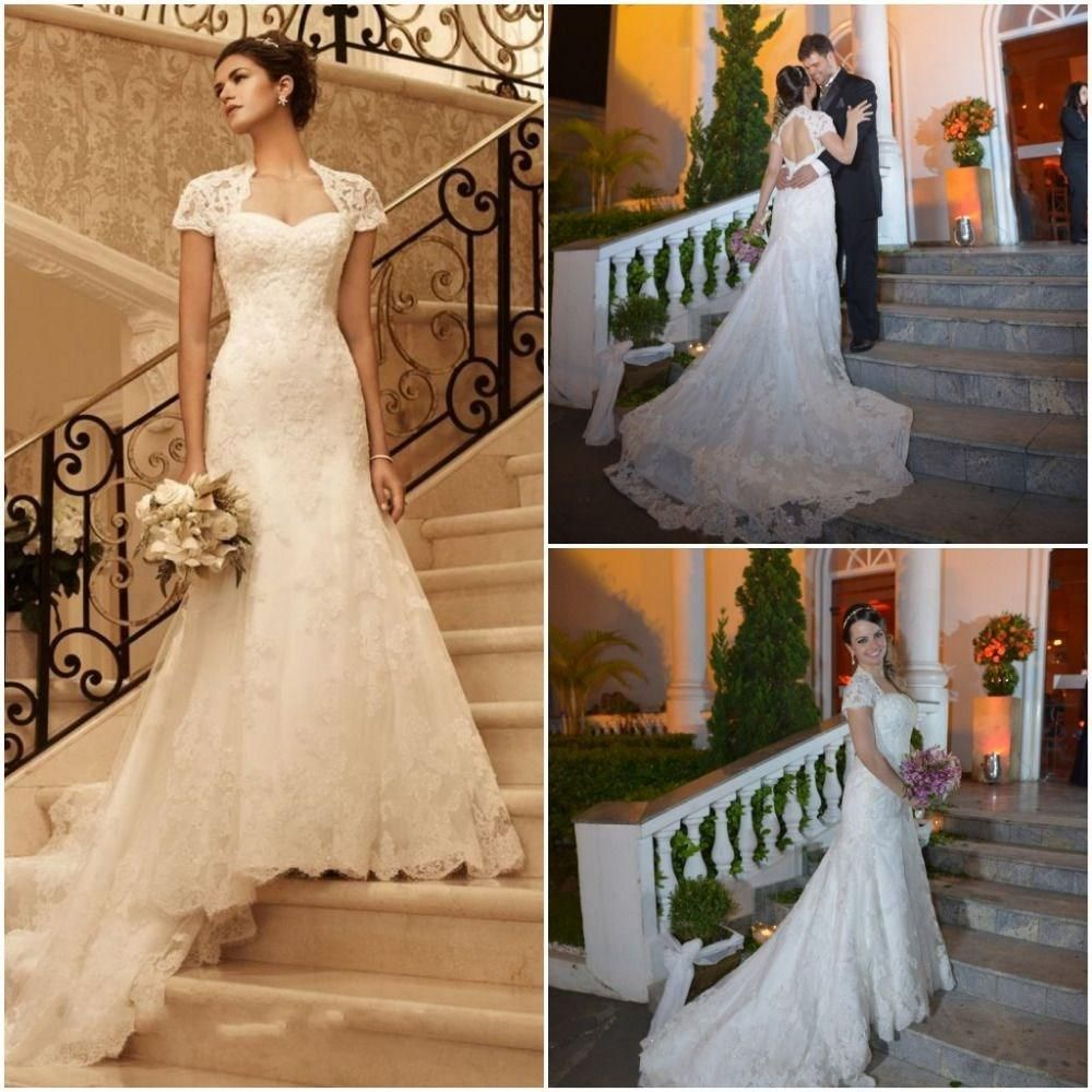 ivory lace wedding dress with cap sleeves