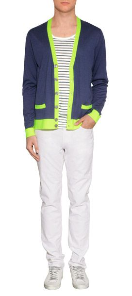 I WANT THIS CARDIGAN!  Uplift spring looks with a shock of neon in Marc by Marc Jacobs' lime trimmed cardigan #Stylebop