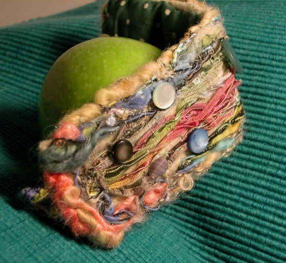 By the Sea Felted Embroidered Bracelet by naughtymonkeys on Etsy