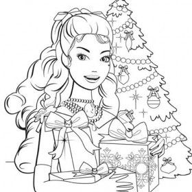 Free Printable Barbie Christmas Coloring Pages Design