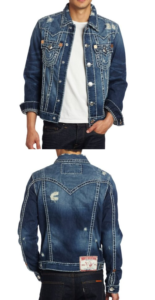 564c390ff7e02 True Religion Men's Jimmy Super Tee, Dust Bowl, Medium - Mens jean jacket -  Denim - Apparel - $196.00