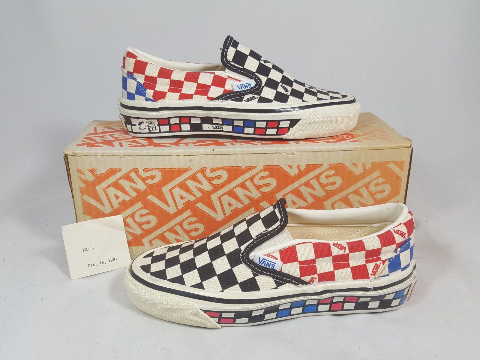Vintage Vans SLIP ON Shoes Custom MULTI CHECK made USA Size