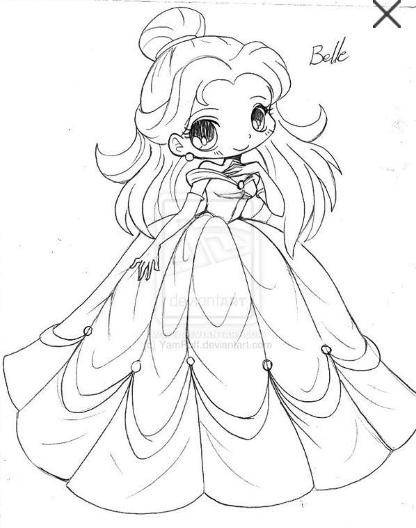 Chibi Belle Chibi Coloring Pages Disney Princess Coloring Pages Disney Coloring Pages