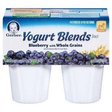 Gerber Yogurt Blends Cups - 4pk - Blueberry with Whole Grains