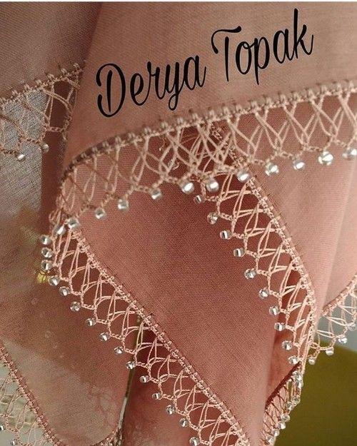 Photo of 40 needlepoint headscarf towel edge model