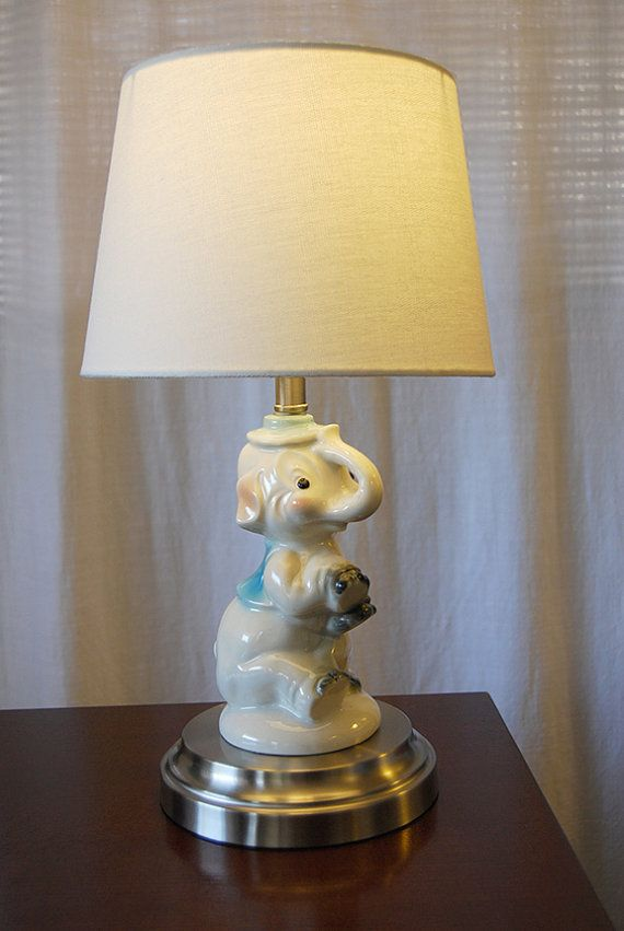 Cordless Vintage Children S Lamp Hand Painted Porcelain Elephant Table Retro Dumbo Baby