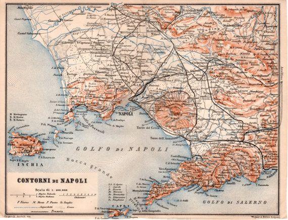 1903 Naples Antique Map Sorrento Ischia Capri Procida