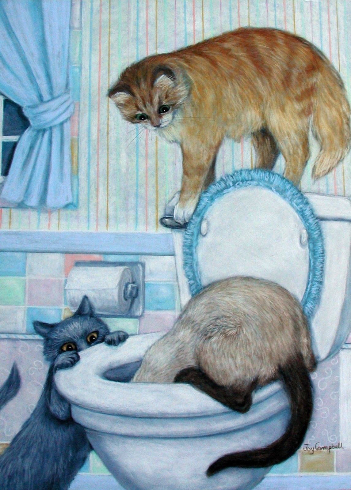 Cats Kittens Flush Toilet Funny Aceo Print From Original Oil By Joy Campbell Ebay Cat Art Illustration Cat Artwork Cats And Kittens
