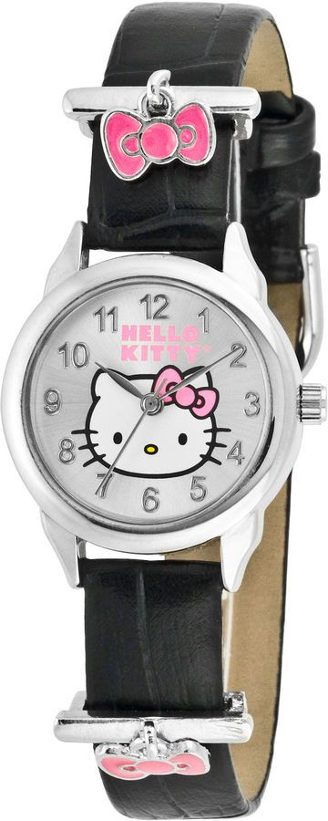 Hello Kitty Pink Bow Charm Black Leather Watch - $24.00