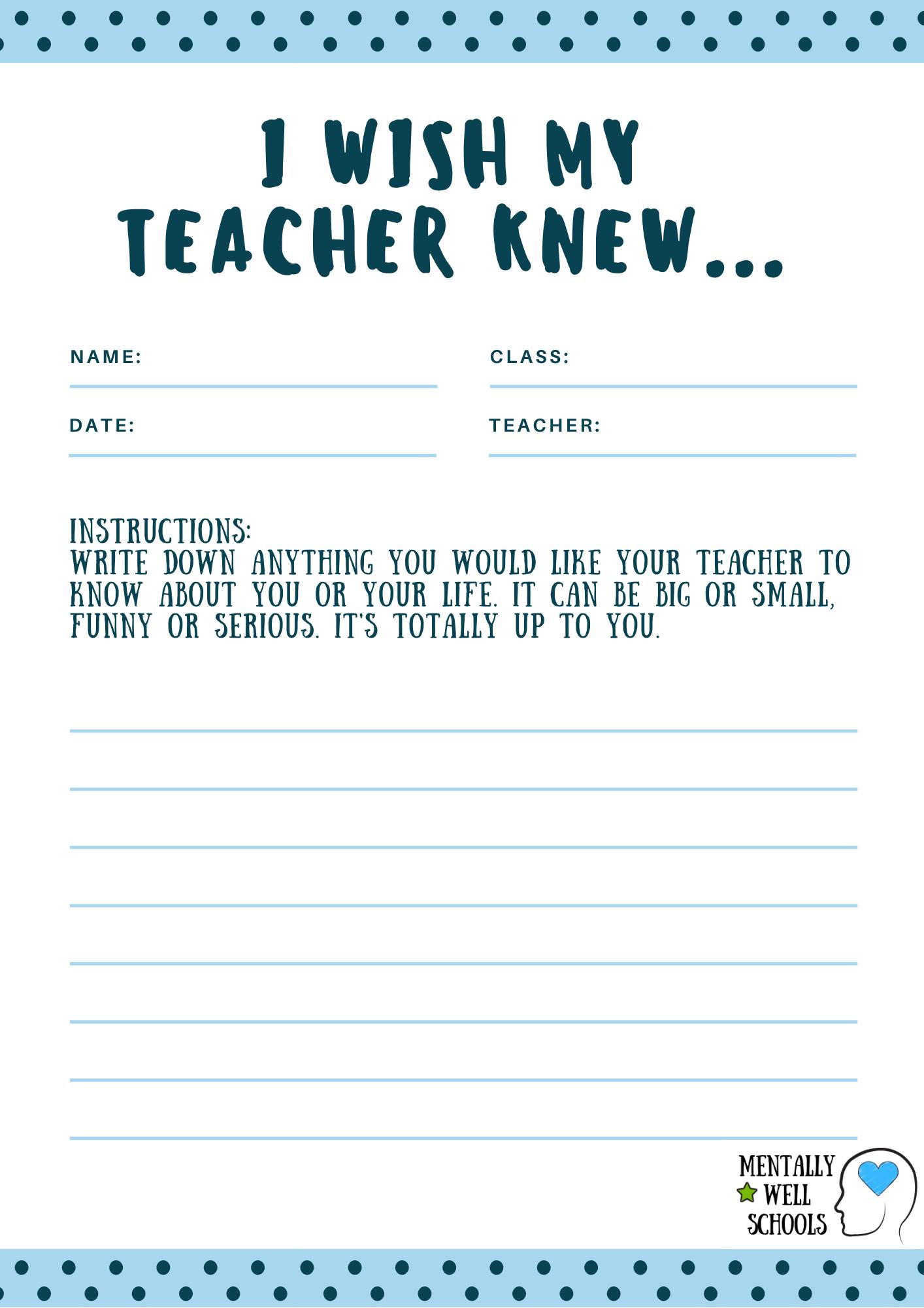 I Wish My Teacher Knew Worksheet Wellbeing Activity In