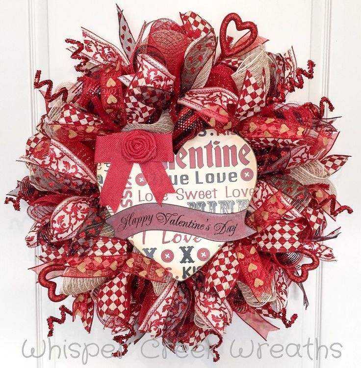 Valentine's Day Wreath, Rustic Valentine's Day, Red