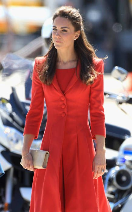I really love this red coat/dress combination and her hair here. #Kate #Middleton