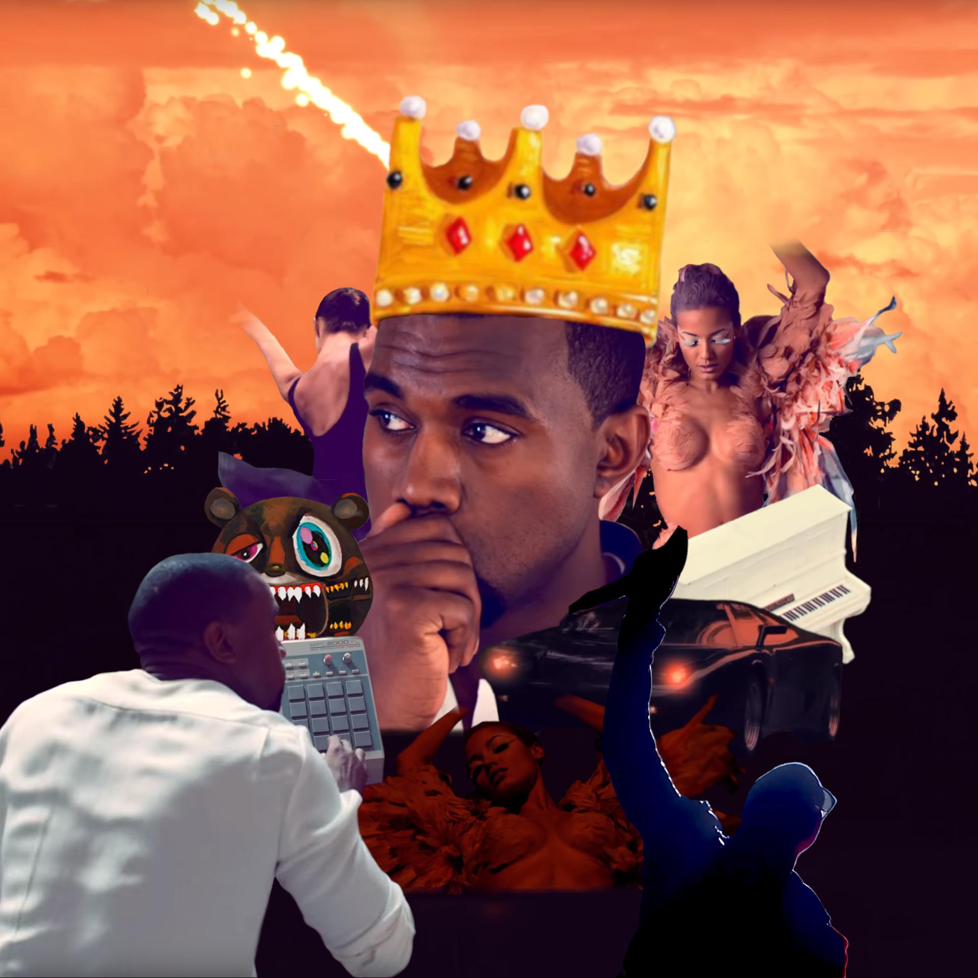 Kanye West My Beautiful Dark Twisted Fantasy Cover Art Poster Chalter Beautiful Dark Twisted Fantasy Album Art Dark And Twisted