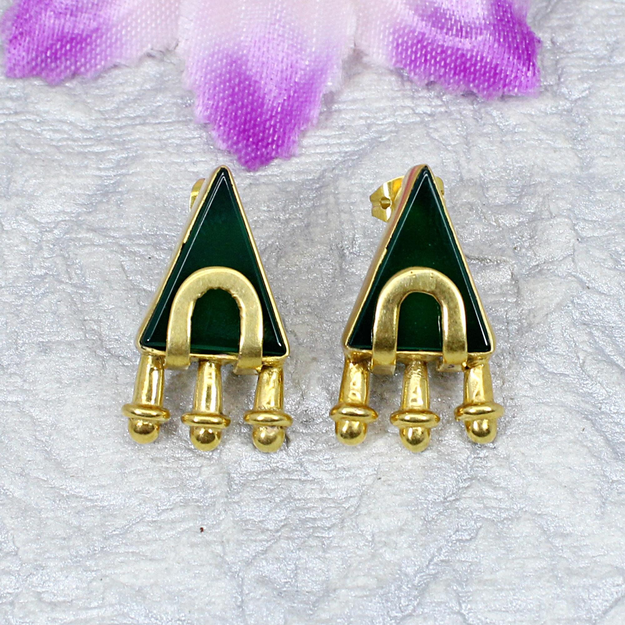Photo of Green Onyx Stud- Gold Plated Earring- Onyx Jewelry- Green Stone Earring- Vintage Stud Earring- Handmade Jewelry- Onyx Earring-Dainty Jewelry