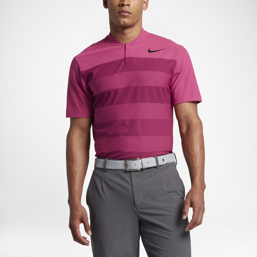 11b58ad1ee2fd Nike TW Zonal Cooling Stripe Blade Men's Standard Fit Golf Polo Shirt Size  Medium (Pink)