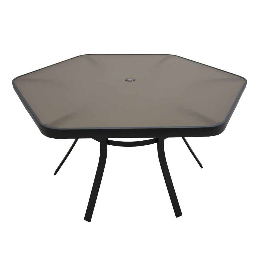 Shop Garden Treasures Hayden Island 50 In X 56 In Glass Top Brown Steel Frame Hexagon Patio Dining Table At Lo Patio Table Set Patio Dining Chairs Patio Dining [ 900 x 900 Pixel ]