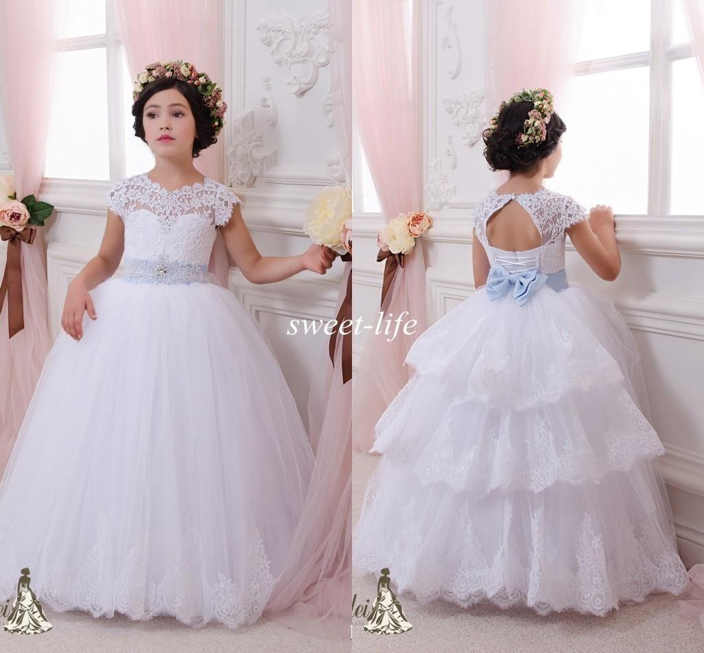 Lace ball gown flower girl dresses cheap sky blue sash floor