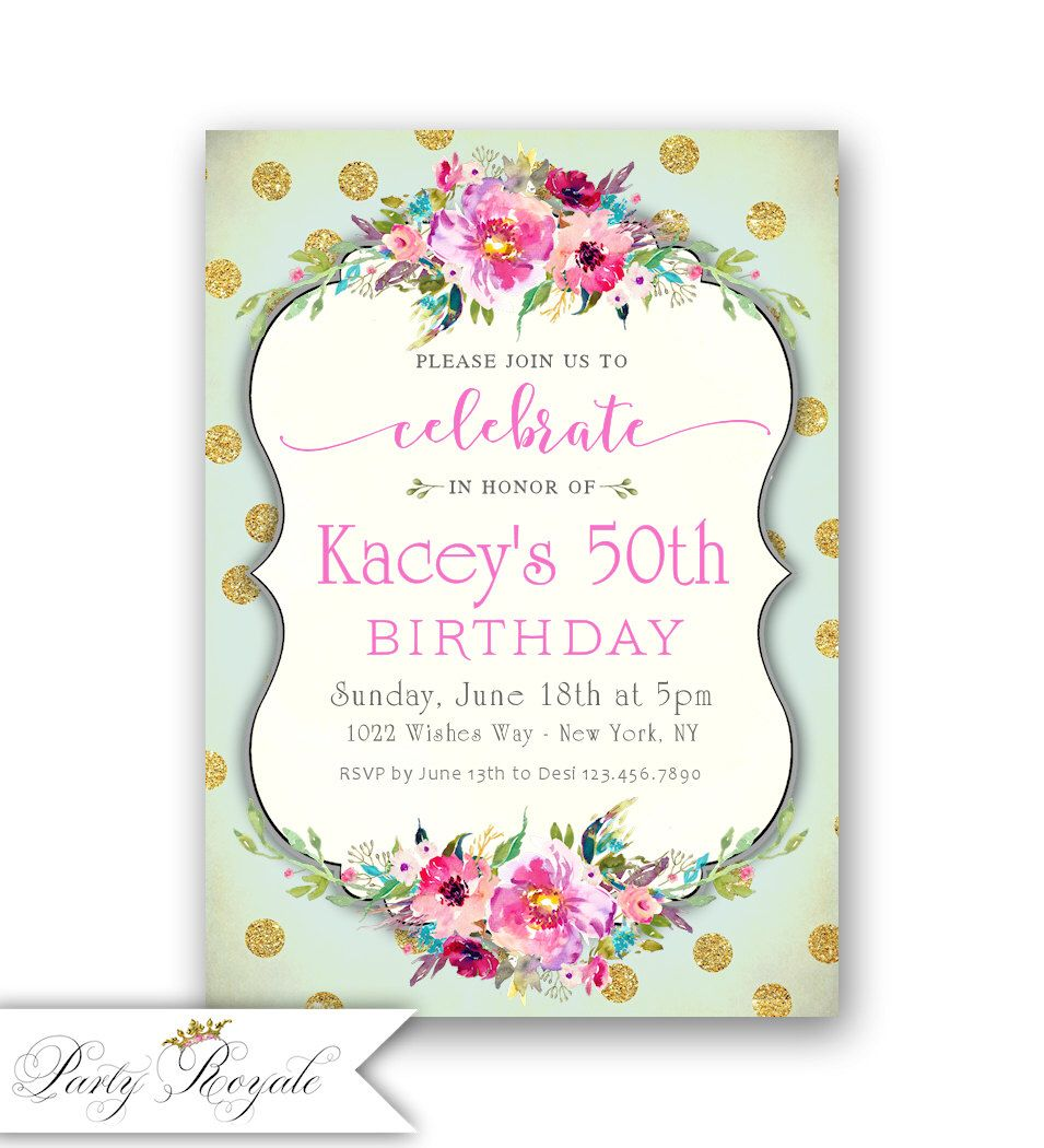 surprise 50th birthday invitation / mint and gold birthday, Birthday invitations