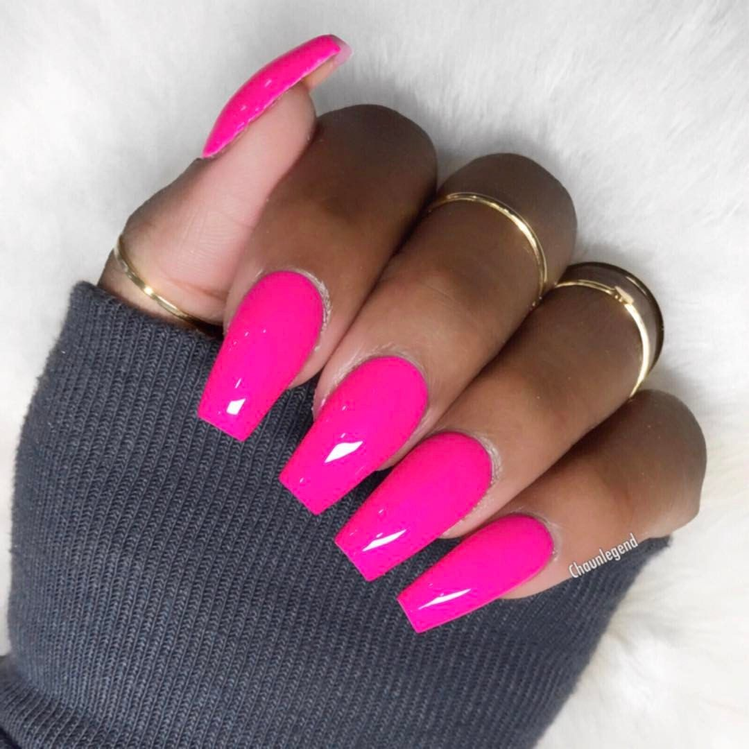 Pin By Eatpraylauren On Nails In 2019 Pink Acrylic Nails Neon Pink Nails Pink Nail Colors