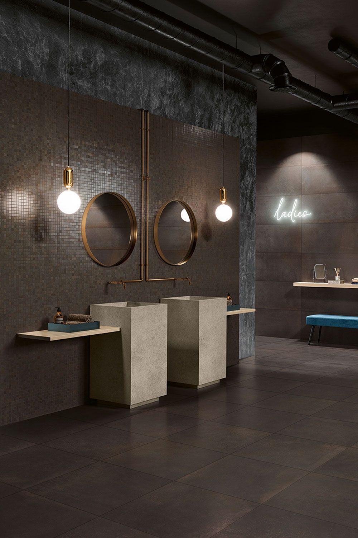 Dunkel Ausdrucksstark Hochmodern Fliesen In Braun Anthrazit Gaste Wc Modern Runde Badezimmerspiegel Badezimmereinrichtung