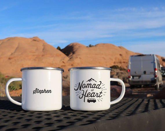 Photo of Vanlife Enamel mugs – Nomad at Heart, Custom camp mug, Unique Campfire mugs, Cute coffee mug van life gift camping gear metal mug