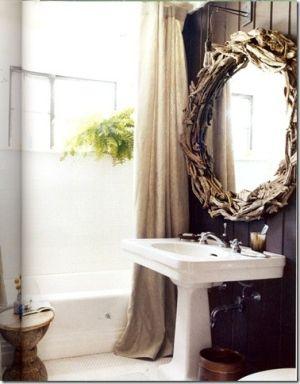 dark walls + light floors + driftwood mirror + light fixture by ...