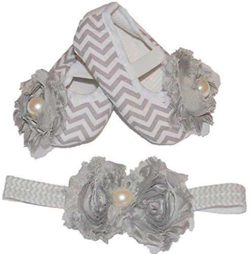 Baby Dress Shoes & Headband Gray Girl Shoes Walking Shoes Chevron Size 6-9 Month