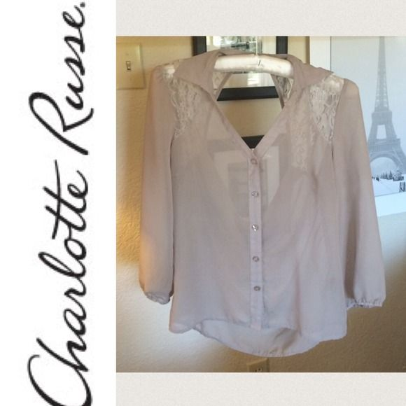 Backless Lace Chiffon Top Worn once, in flawless condition! Make an offer :) Charlotte Russe Tops