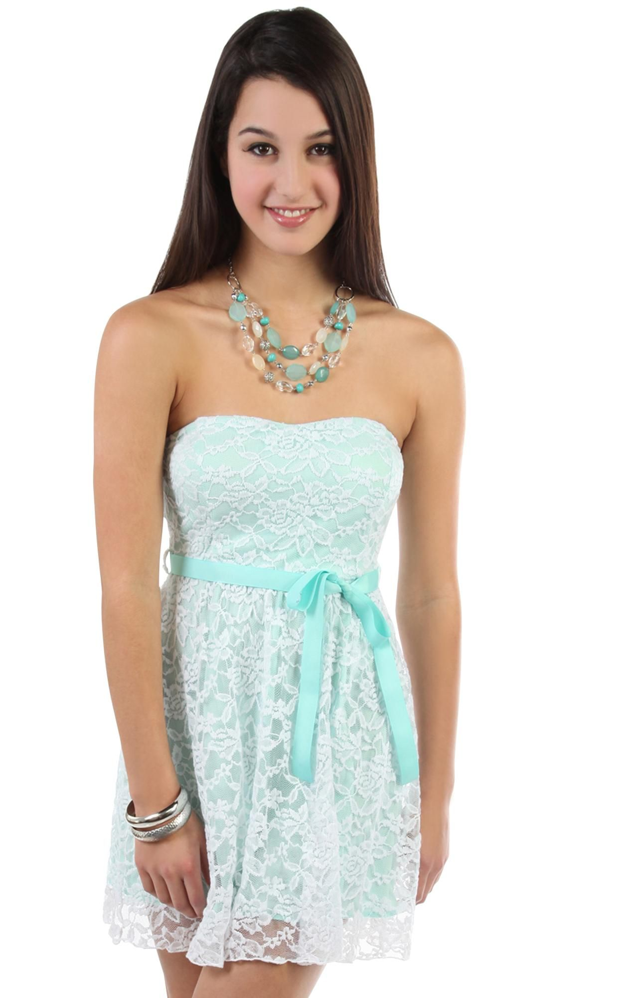Deb shops mint strapless sweetheart self tie floral lace dress