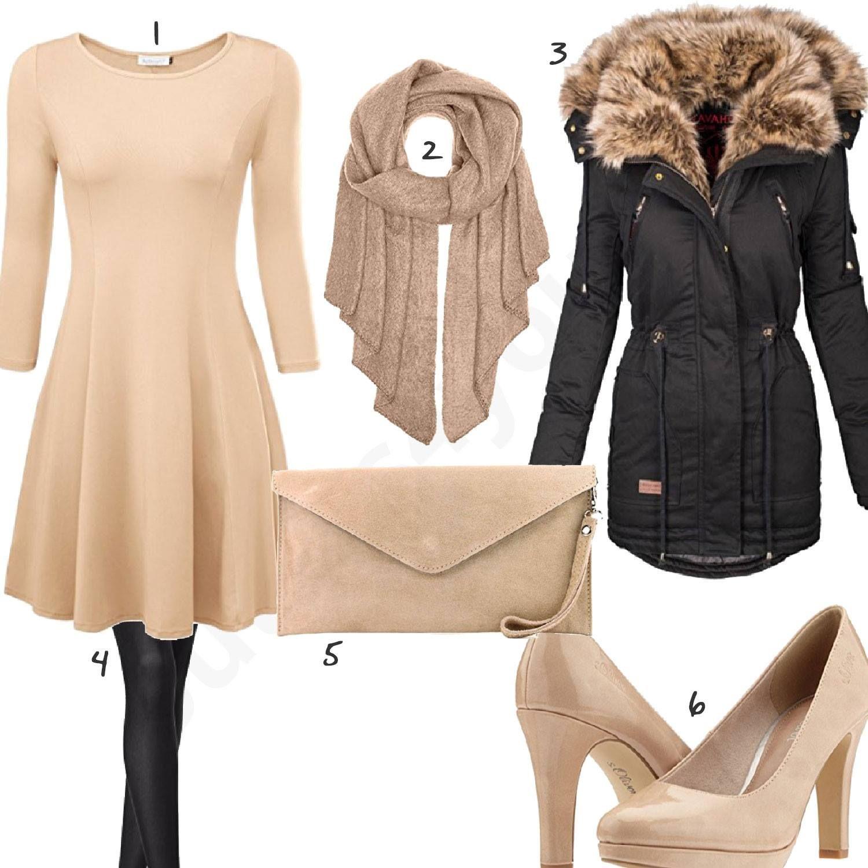 Beige Schwarzes Damenoutfit Mit Kleid Und Pumps Outfit Outfits Damen Mode