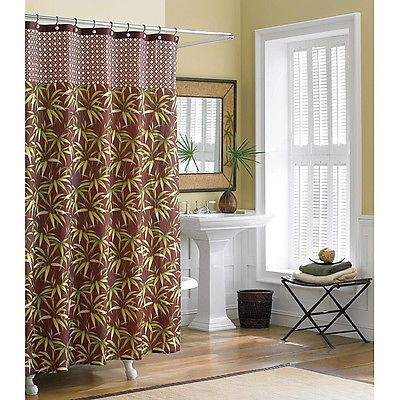Tropical Shower Curtains | Tommy Bahama Bathroom Shower Curtain Cane Bamboo  100% Cotton Tropical