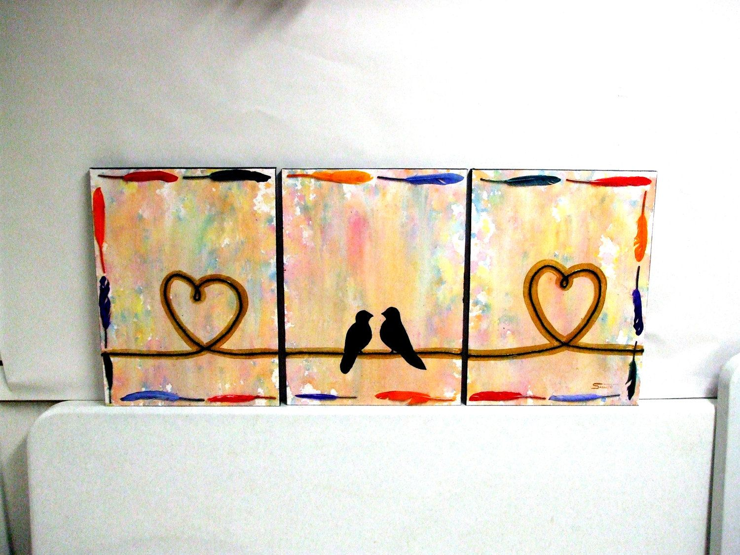 Unique Wedding Gift - Love Bird Painting Original Acrylic Rainbow ...