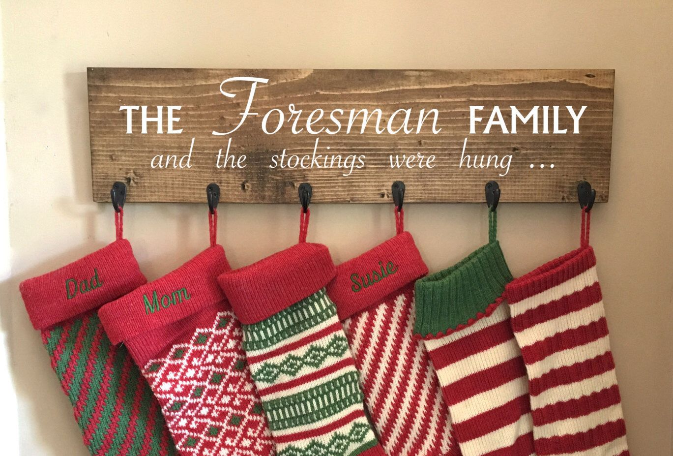 Stocking hanger, reclaimed wood, no mantle, personalized ...