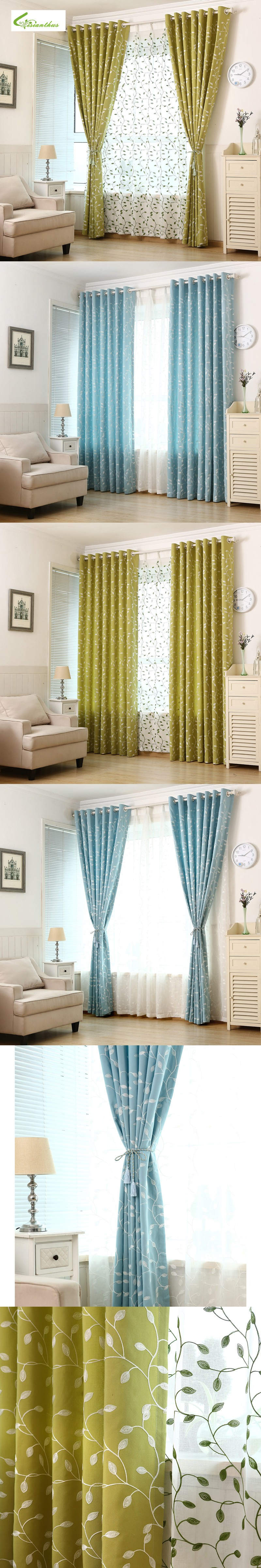 New pastoral printed leafs window curtains for living room bedroom